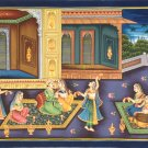 Mughal Emperor Harem Art Handmade Moghul Dynasty Watercolor Cotton Folk Painting