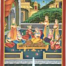 Mughal Dynasty Art Hand Painted Indian Moghul Harem Watercolor Ethnic Painting