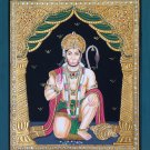Tanjore Hanuman Painting Handmade Indian Thanjavur Hindu Deity Spiritual Art