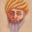 Indian Rajput Miniature Portrait Painting Handmade Rajasthani Turban Pagri Art