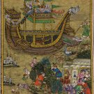 Mughal Miniature Art Rare Hand-Painted Miskin Akbar Noah's Ark Moghul Painting