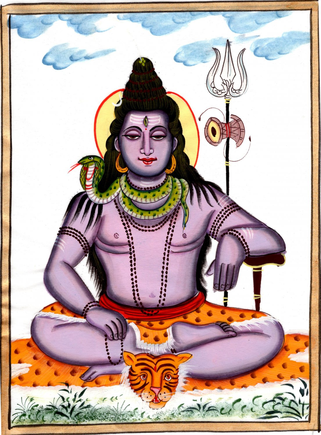 Lord Mahadev Shiva Art Handmade Opaque Watercolor Hindu Spiritual Silk Painting