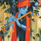 Krishna Hindu Deity Art Handmade Indian Portrait Oil on Canvas Decor Painting