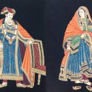 Rajasthani Painting Handmade Indian Maharajah Maharani Royalty Embossed Folk Art
