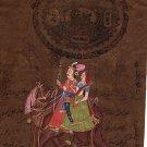 Rajasthan Folk Miniature Painting Handmade Dhola Maru Indian Ethnic Decor Art