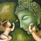 Buddha Artwork Hand Painted Oil on Canvas Indian Buddhist Wall Decor Painting