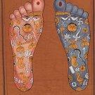 Vishnu Pada Tantric Painting Indian Hindu Handmade Footprint Foot Tantrik Art