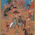 Persian Miniature Painting Handmade Sultan Muhammad Khamsa of Nizami Ethnic Art