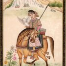 Mughal Dynasty Miniature Painting Stunning Royal Moghul Equestrian Falconry Art