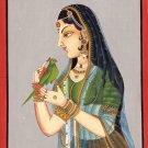 Rajasthan Indian Miniature Painting Handmade Rajput Ethnic Decor Portrait Art