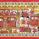 Phad Indian Art Handmade Rajasthan Miniature Folk Scroll Decor Ethnic Painting