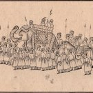 Mughal Miniature Drawing Rare Black Ink Handmade Moghul Procession Indian Art
