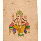 Ganesha Art Handmade Opaque Watercolor Spiritual Ganesh Symbolism Folk Painting