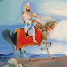 Guru Gobind Singh Equestrian Painting Handmade Indian Sikh Ethnic Oil Canvas Art