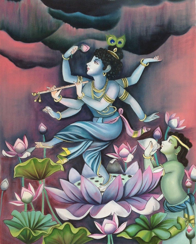 Bala Krishna Painting Indian Deity Oil on Canvas Hand ...
