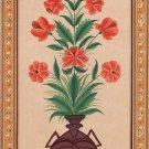 Mughal Floral Miniature Painting Moghul Indian Handmade Watercolor Flower Art