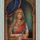 Rajasthani Indian Queen Painting Handmade Indian Miniature Ethnic Portrait Art