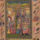 Moghul Miniature Art Handmade Indian Mughal Empire Royal Procession Painting