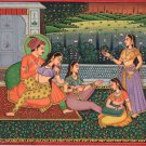 Indian Mogul Empire Miniature Art Handmade Watercolor Mughal Harem Folk Painting