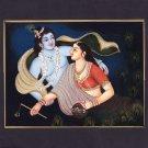 Krishna Radha Handmade Painting Hindu Indian Ethnic Religious Miniature Folk Art