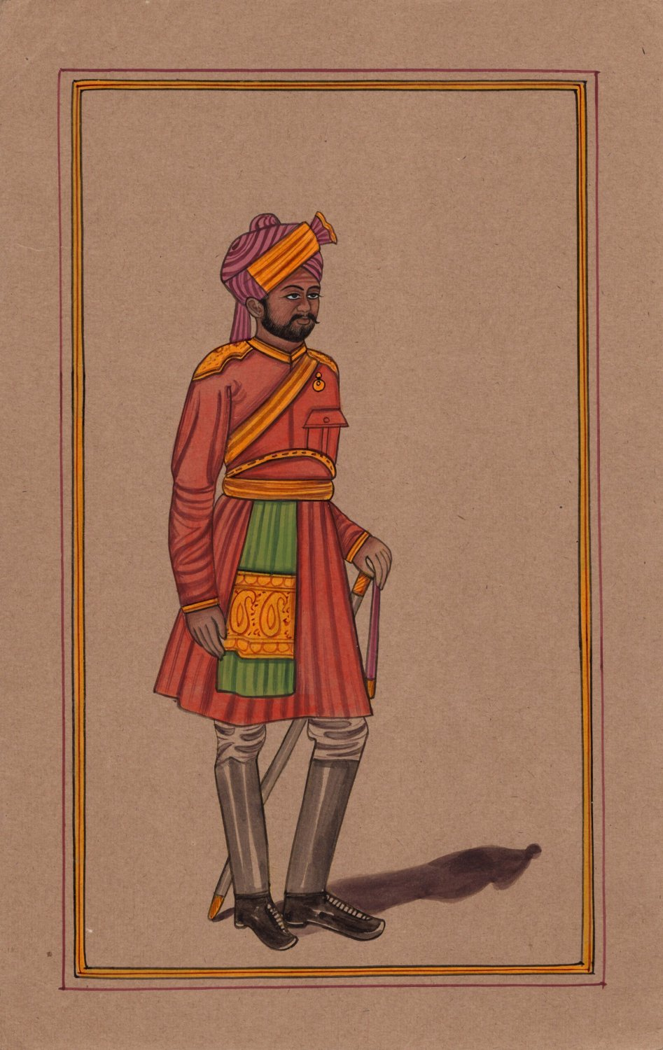 India Miniature Art Handmade Sikh Military Soldier Sentry Portrait Painting