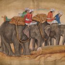 Indian Rajasthani Elephant Mahout Painting Handmade Animal Decor Miniature Art