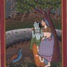 Krishna Radha Pahari Handmade Painting Indian Miniature Krsna Ethnic Folk Art