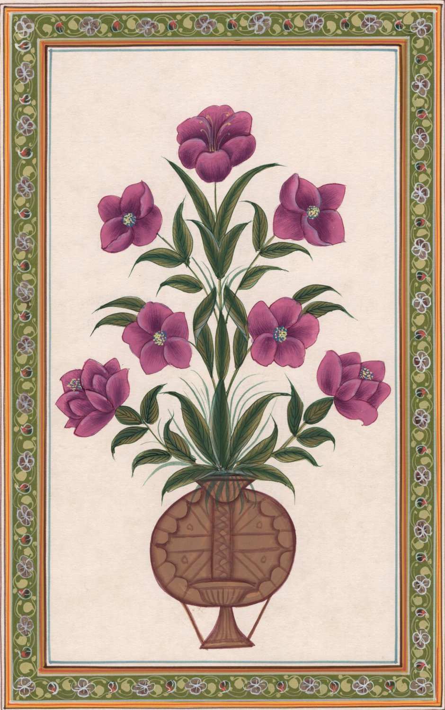 Mughal Floral Miniature Painting Moghul Indian Handmade Nature Lotus