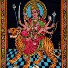 Durga Ma Batik Folk Art Handmade Indian Tribal Cotton Ethnic Religion Painting