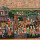 Rajasthani Miniature Painting Handmade Royal Maharaja Procession Indian Folk Art