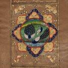 Peacock Bird Indo Persian Miniature Painting Handmade Islamic Nature Ethnic Art
