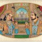 Shah Jahan Mumtaz Mahal Portrait Art Handmade Mughal Empire Miniature Painting