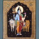 Tanjore Ardhanarishvara Artwork Handmade Indian Thanjavur Shiva Parvati Painting