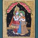 Tanjore Krishna Radha Art Handmade Indian Hindu Deity Thanjavur Ethnic Painting