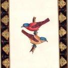 Indian Sparrows Bird Miniature Painting Handmade Watercolor Paper Ethnic Artwork