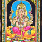 Ganesha Batik Folk Art Handmade Indian Tribal Cotton Ethnic Religion Painting