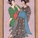 Indo Japanese Art Handmade India Japan Miniature Ethnic Folk Portrait Painting