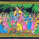 Indian Batik Krishna Radha Art Handmade Tribal Hindu Religious Figure Painting