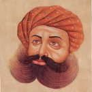 Rajasthani Turban Pagri Art Handmade Indian Rajput Miniature Portrait Painting