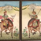 Mughal Dynasty Miniature Art Stunning Royal Moghul Equestrian Falconry Painting