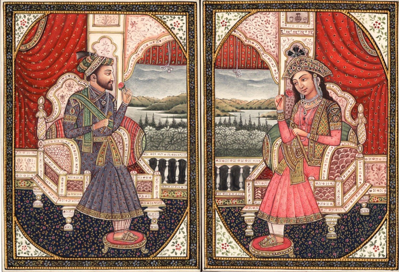 Mughal Miniature Art Emperor Shah Jahan Empress Mumtaz ...
