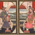 Mughal Miniature Art Emperor Shah Jahan Empress Mumtaz Mahal Handmade Painting