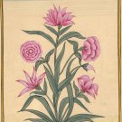 Moghul Miniature Floral Painting Handmade Mughal Flower Islamic Script Paper Art