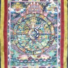 Tibetan Mandala Thanka Art Bhavachakra Silk Brocade Scroll Wall Decor Painting