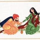 Indian Rajasthani Miniature Painting Handmade Maharajah Maharani Love Ethnic Art