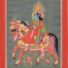 Krishna Art Handmade Indian Composite Animal Hindu Religion Theme Folk Painting