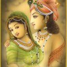 Krishna Radha Painting Handmade Hindu Religious Indian God Goddess Ethnic Art