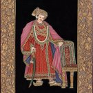 India Rajput Amritsari Maharajah Miniature Painting Handmade Embossed Ethnic Art