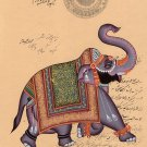 Elephant Indian Miniature Painting Handmade Vintage Stamp Paper Ethnic Decor Art