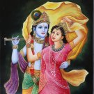 Krishna Radha Folk Art Handmade Indian Hindu Religious Ethnic Decor Painting